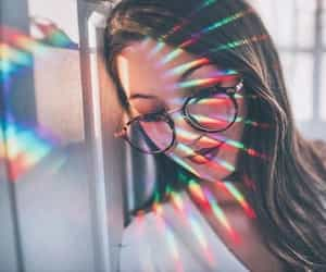 girl, rainbow, and light image