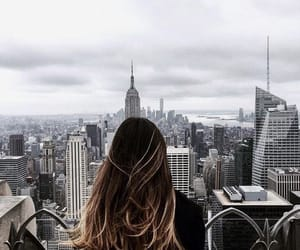 city, hair, and new york image