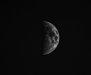 black, moon, and black and white image