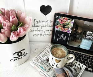 flowers, chanel, and coffee image
