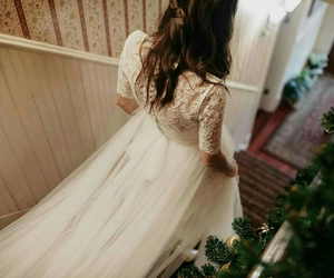 dress, long, and white image