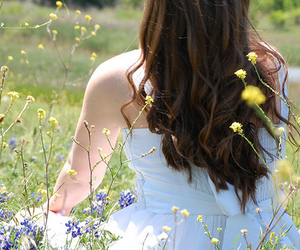 dress, flower, and hair image