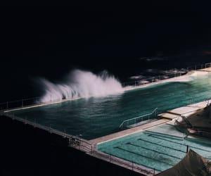 pool, night, and dark image