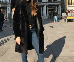 beautiful, black boots, and black coat image