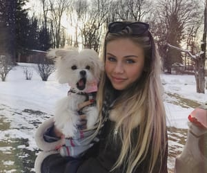 girl, puppy, and scarlett leithold image