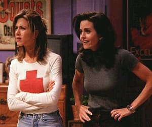 Courteney Cox, Jennifer Aniston, and monica geller image