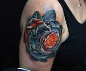 camera, tattoo, and rose image
