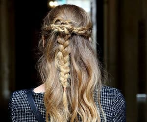 braids, colored hair, and ponytail image