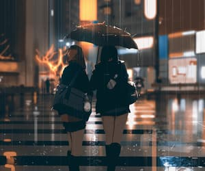 girl, rain, and anime image