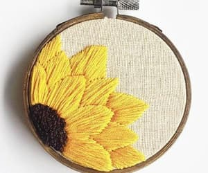 yellow, embroidery, and sunflower image