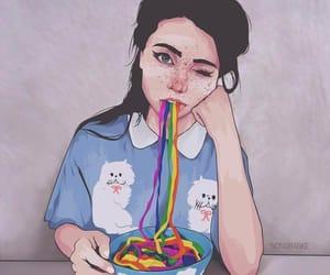 rainbow, girl, and art image