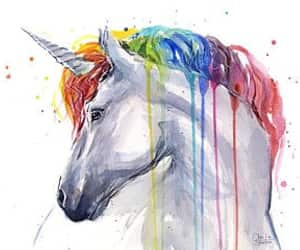 art, watercolor, and unicorn image
