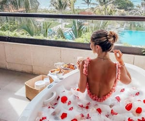 breakfast, bubble bath, and flowers image
