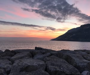 Amalfi coast, pink, and sea image