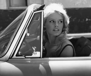 brigitte bardot, car, and black and white image