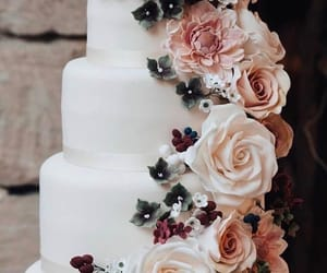 cake, flowers, and roses image
