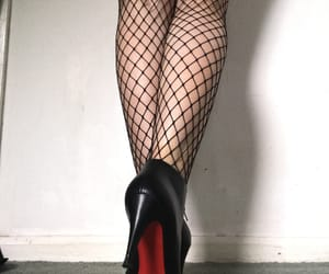 booties, designer, and fishnets image