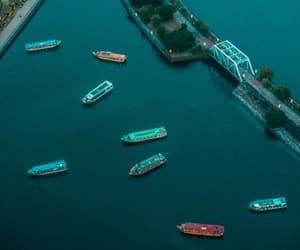 aerial, bridge, and blue image