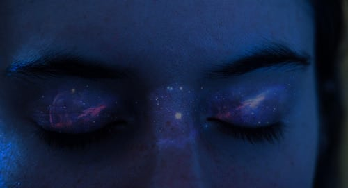 galaxy, eyes, and blue image