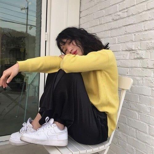 ulzzang, girl, and yellow image