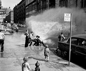 black and white, kids, and water image