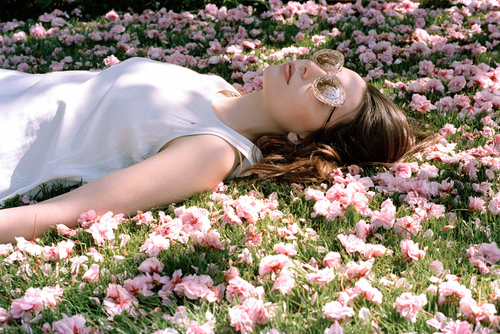 flowers, girl, and article image