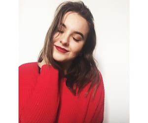 girl, red lips, and sweater image