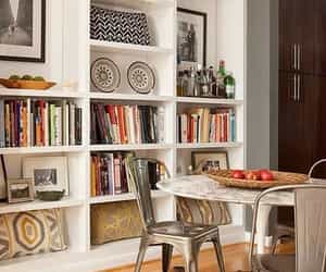 bookshelves, home decor, and dining area image