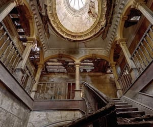abandoned, stairway, and brown image