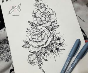 artwork, drawing, and flowers image