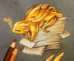art, books, and dragon image