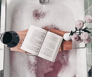 bath, book, and flowers image