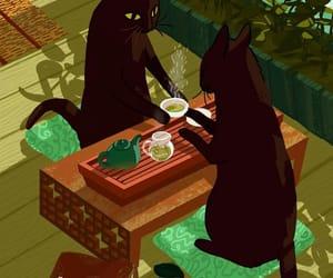 cat, tea, and art image