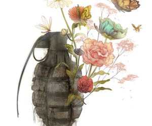 flowers, art, and butterfly image