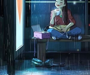 comida, ilustraciones, and lluvia image