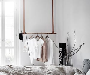bed, bedroom, and clothes image