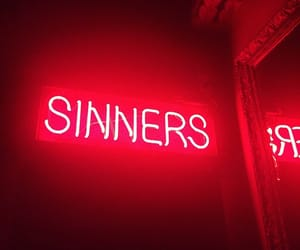 red, neon, and sinner image