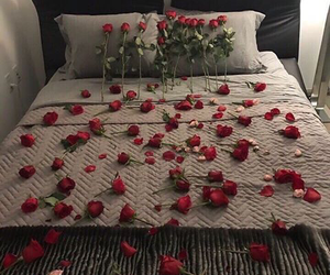 bed, couples, and flowers image