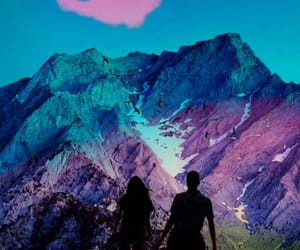 mountains, pixlr, and blue image