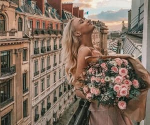 flowers, girl, and city image
