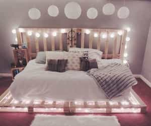 lights, bedroom, and bed image