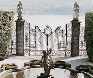 garden, fountain, and gate image
