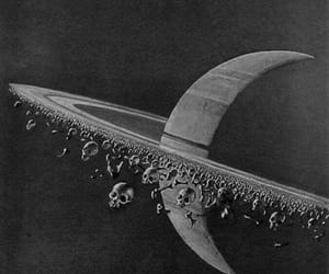 skull, planet, and space image