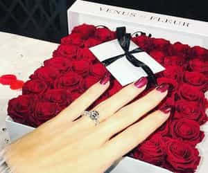 couples, flowers, and gift image