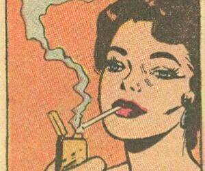 cigarettes, comics, and lady image