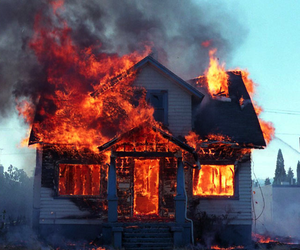fire, house, and burn image
