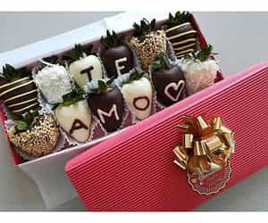 chocolate, couples, and flowers image