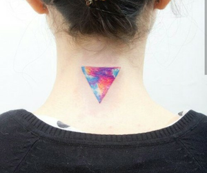 tattoo, neck, and triangle image