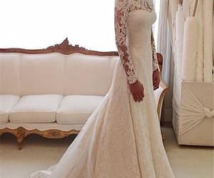lace dress, wedding, and white dress image
