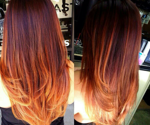hair, ombre, and orange image
